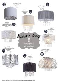 8 boutique style drum shade chandeliers
