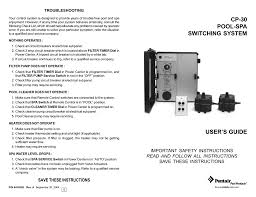 Pool Heater Pressure Switch Light On Compool Pentair Compool Cp30 Pool Spa Switching System