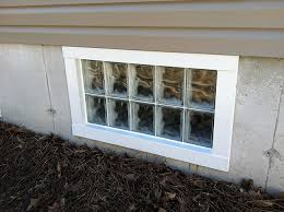 Plain Basement Windows Exterior Glass Block Window With Simple Wall For Modern Design