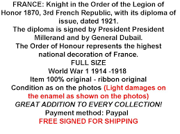 ww order legion honor knight diploma military  categories