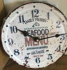 novelty kitchen wall clock sea food