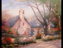 kinkade s twee paintings of cod traditional cottages