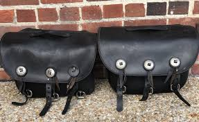 vintage leather motorcycle saddlebags image 0