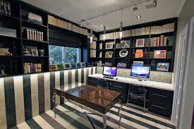 Home office wall Shelving Custom Home Office Wall System In Black With Desk And Storage Closet Works Closet Works Home Office Storage Ideas And Organization Systems