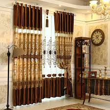 brown living room curtains. Luxury Brown Lace Patterned Living Room Curtains
