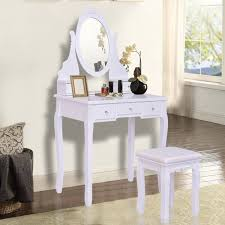 giantex white vanity jewelry wooden makeup dressing table set with stool mirror 5 drawers modern bedroom dressers hw55564