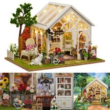 how to build miniature furniture. DIY Dollhouse Miniature Furniture Kit LED Kids Birthday Xmas Gift Flower House How To Build