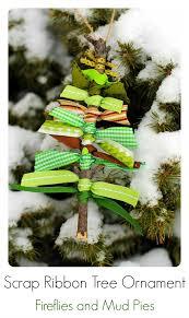 Christmas Craft---Scrap Ribbon Tree Ornaments - Fireflies and Mud Pies