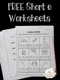 First grade level 1 reading activities: Short E Worksheets The Measured Mom