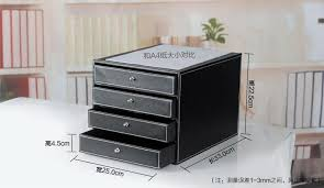 office 4 drawer wooden leather desk a4 file cabinet drawer box table organizer doent stationery holder