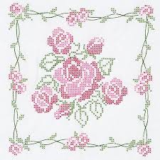 Rose Bouquet White Quilt Blocks - Stamped Cross Stitch Kit | moms ... & Rose Bouquet White Quilt Blocks - Stamped Cross Stitch Kit Adamdwight.com