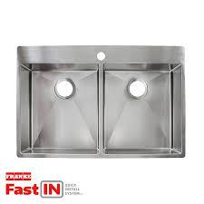 franke fast in 33 5 in x 22 5 in double basin stainless steel