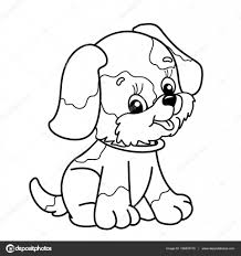 Coloring Page Outline Of cartoon dog. Cute puppy sitting. Pet ...