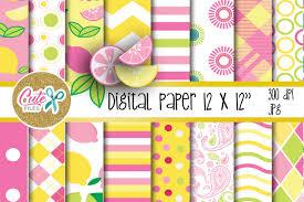 Pink Lemonade Designs Pink Lemonade Digital Paper Summer Colorful