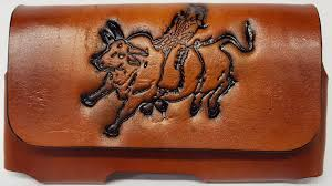 lady bull rider embossed leather cell phone case made in usa