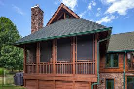screened porch with gable roof and unique details