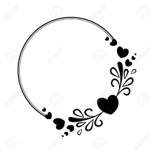 hearts silhouette elegant black and white round frame with a silhouette of hearts