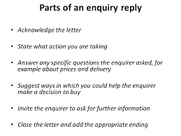 Parts of an enquiry reply