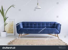 Blue Sofa Blue Sofa Wicker Carpet White Simple Stock Photo 628423925