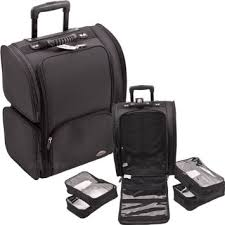 sunrise all black soft sided professional rolling makeup case with removable clear bags c6401