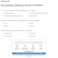 quiz worksheet montresor in the cask of amontillado com print montresor in the cask of amontillado character analysis overview worksheet