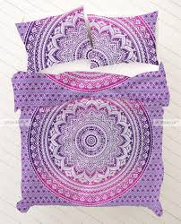 purple mandala duvet cover set with matching pillow cases king size throw size