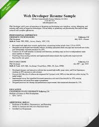 Sample Web Developer Resume Musiccityspiritsandcocktail Com