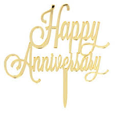 Amazoncom Innoru Happy Anniversary Cake Topper Gold Toppers
