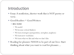 nonfiction reading unit introduction essay a nonfiction introduction essay a nonfiction shorter work that is not poetry or verse