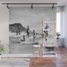 vintage hawaii tandem surfing wall