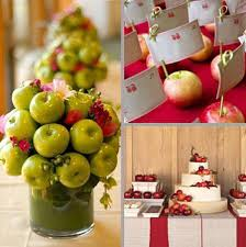 table decoration with apple centerpieces