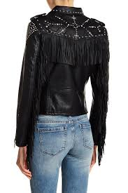 blanknyc denim studded fringe faux leather jacket on the run leather faux leather shell