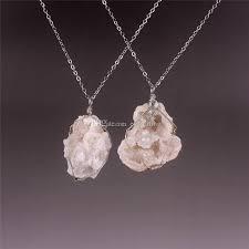 whole natural raw birthstone gemstone freeform quartz crystal pendant necklace new age uni pagan healing wire wrapped rock punk vine jewelry mens