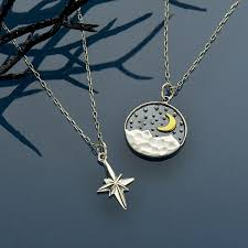 north star mountain moon and north star charm necklaces