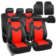faux leather car seat covers for auto red w heavy duty floor mats 0