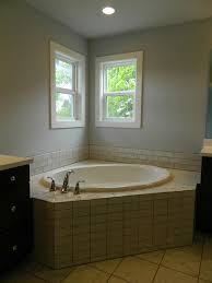 Decorative Windows For Bathrooms Subway Tile Tub Deck With Drop In Bathtub Double Hung Windows