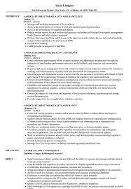 Associate Director Quality Assurance Resume Samples Velvet Jobs