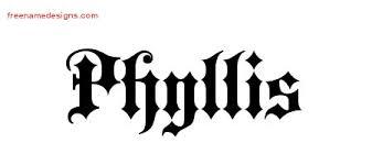 Old English Name Tattoo Designs Phyllis Free Free Name Designs