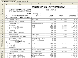 cost spreadsheet for building a house loan management