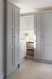 classic painted shaker cabinets in pale gray