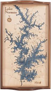 Lake Norman Serving Tray Wood Chart Art Wood Map Lake House