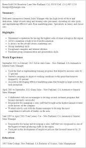 Auto Service Manager Resumes 1 Automotive General Sales Manager Resume Templates Try
