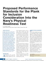 Pdf Proposed Performance Standards For The Plank For
