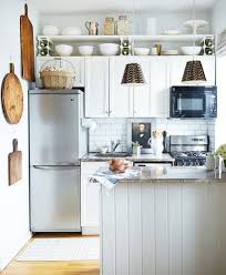cute kitchen ideas. Interesting Kitchen Simple White Open Shelves Above Elegant Small Cabinet For Cute Kitchen Ideas  With Rattan Styled Pendants Intended