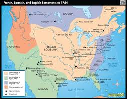 french spanish and english settlements to  map  mapscom