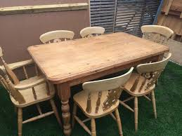 Pine Kitchen Table And Chairs Charming Farmhouse Solid Pine Dining Table With 6 Chairs In