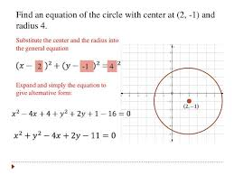 circle solution give the equation in standard form of post