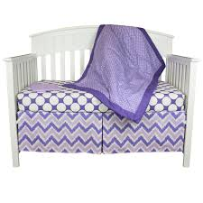 bacati crib bedding set purple polka dots and chevron
