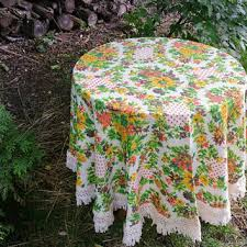 vintage 66 inch round cross stitch fl tablecloth with fringe