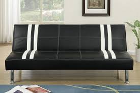 f6821 nathaniel collection two tone black and white faux leather upholstered futon bed